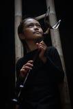 Den indonesiska traditionella trumpeten från sundanese Arkivbilder