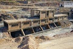 Den industriella historien, övergiven kolgruva. Arkivbilder