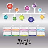 Den Infographic designmallen kan användas för workfloworientering Arkivfoto