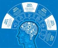 Den Infographic designmallen med huvudet fylls av en liten symbolsbeståndsdel stock illustrationer