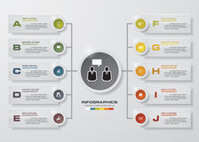 Den Infographic designmallen och affärsidéen med 10 alternativ, särar, kliver eller processar Royaltyfri Foto