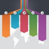 Den Infographic mallen av olikt alternativ fem och en världskarta med punkter av intresse och en affär team folk, vektorillustrat Arkivbild