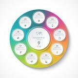 Den Infographic mallen med 9 cirklar, alternativ, moment, särar Arkivbild
