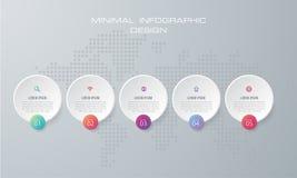Den Infographic mallen vektorn med för 4 alternativ, workflow, processdiagram, Timelineinfographics för designen och marknadsföri royaltyfri illustrationer