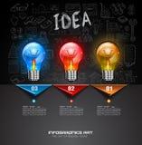 Den Infographic orienteringen för idékläckningbegreppsbakgrund med grafer skissar Arkivfoton