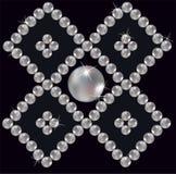 den inlagda prydnaden pryder med pärlor romb Royaltyfri Foto