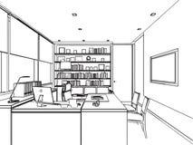 Den inre översikten skissar teckningsperspektiv av ett utrymmekontor Arkivfoton
