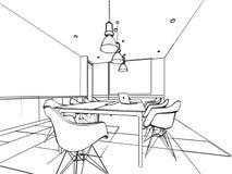 Den inre översikten skissar teckningsperspektiv av ett utrymmekontor Royaltyfria Foton
