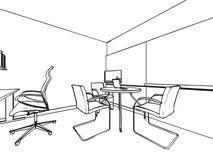 Den inre översikten skissar teckningsperspektiv av ett utrymmekontor Arkivfoto