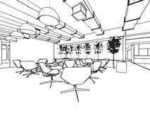 Den inre översikten skissar teckningsperspektiv av ett utrymmekontor Royaltyfri Fotografi