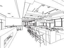 Den inre översikten skissar teckningsperspektiv av ett utrymmekontor Arkivbild