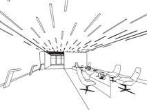 Den inre översikten skissar teckningsperspektivkontoret Fotografering för Bildbyråer