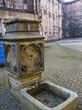 Den inre borggården av den Lancaster slotten i England är i mitten av staden arkivbild