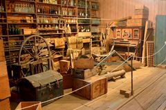 Den inre sikten av Brennan och Geraghty lagrar museet i Maryborough arkivfoto