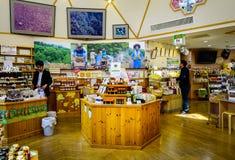 Den inre sikten av souvenir shoppar i Akita, Japan Arkivfoton