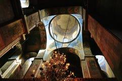 Den inre sikten av Sten Sophia Cathedral i Veliky Novgorod, Ryssland Royaltyfri Bild