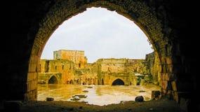 Den inre sikten till Krak des-Chevaliers rockerar Syrien Royaltyfri Foto