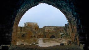 Den inre sikten till Krak des-Chevaliers rockerar Syrien Royaltyfri Bild