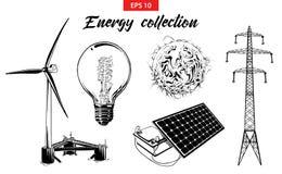 Den inristade handen som dras, skissar ställde in av energiutrustning som isoleras på vit bakgrund stock illustrationer