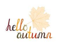 Den inskriftHello hösten Royaltyfria Bilder