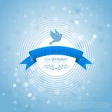 Den internationella dagen av fred med duvor, förgrena sig oliv och bandet Royaltyfria Foton
