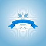 Den internationella dagen av fred med duvor, förgrena sig oliv och bandet också vektor för coreldrawillustration Royaltyfria Bilder