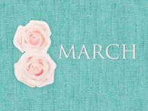 Den internationella dagen för kvinna` s marsch 8, dekorerade med blomman på turkosbakgrundstextur Royaltyfri Fotografi