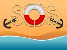 Den internationella nödsignalen och fråga för hjälp SOS i form av inskrifter av repen och en livboj Ankare livboj, royaltyfri illustrationer