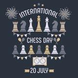 Den internationella schackdagen firas årligen på Juli 20, stiger ombord tar tid på schackstycken och vykort stock illustrationer