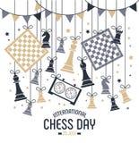 Den internationella schackdagen firas årligen på Juli 20, stiger ombord tar tid på schackstycken och vykort vektor illustrationer