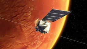 Den interplanetariska rymdstationen utplacerar solpaneler i omlopp av fördärvar stock illustrationer
