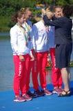 Den Irena Szewinska och Polen bronsmedaljören i kvinnor fyrdubblar sculls Rio2016 royaltyfri bild