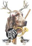 Den irländska setter, designer för jägarehundkapplöpningkortet, den redigerbara logoen, kan du skriva in din logo eller text Royaltyfria Foton
