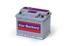 den isolerade batteribilen för bakgrund 3d framför white Royaltyfri Foto