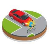 den isolerade bilillustrationen för olyckan 3d framförde white Cykelolycka med ett medel Vektor Illustrationer