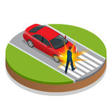 den isolerade bilillustrationen för olyckan 3d framförde white Olycksbil och gångare Isometrisk illustration för plan vektor 3d Royaltyfria Bilder