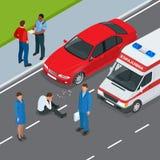 den isolerade bilillustrationen för olyckan 3d framförde white Olycksbil och gångare Isometrisk illustration för plan vektor 3d Arkivbild