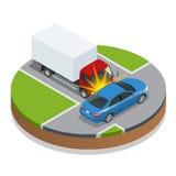 den isolerade bilillustrationen för olyckan 3d framförde white storen för krasch för bilbilsammanstötning har huvudvägen iced has Royaltyfria Foton