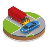 den isolerade bilillustrationen för olyckan 3d framförde white storen för krasch för bilbilsammanstötning har huvudvägen iced has Stock Illustrationer