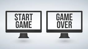 Den isolerade datoren övervakar eller tv med start eller leken över på skärmen vektor illustrationer