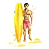Den isolerade handen som dras, skissar av surfareman med brädet royaltyfri illustrationer