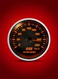 Den isolerade hastighetsmätaren visar aktuell hastighet av 232 kilometer ho Royaltyfri Bild