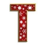 den isolerade julen letter röd t Royaltyfri Bild