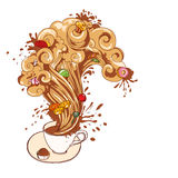 Den isolerade kaffe- eller tekoppen på tefatet med sötsaker ångar Arkivfoton