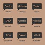den isolerade kortgåvan tackar white dig olika språk Royaltyfria Bilder