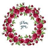 Den isolerade kransen av röda dahliablommor och jag älskar dig som märker Mall för hälsningkort till dagen för valentin s, vektor stock illustrationer