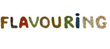 Den isolerade ordsmaktillsatsen fodras med färgrika kryddor och örter royaltyfria bilder
