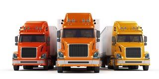 den isolerade presentationen några trucks white Royaltyfri Bild