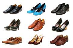 den isolerade samlingen shoes olikt Arkivbilder