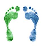 den isolerade täta färgrika foten skrivar upp ut Royaltyfri Foto